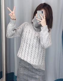 Fashion Gray Positive Twist Turtleneck Sweater