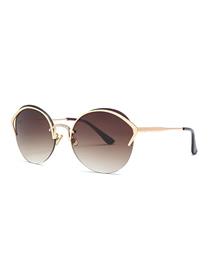 Fashion Gradient Tea Cat Eye Diamond Nose Bridge Round Sunglasses