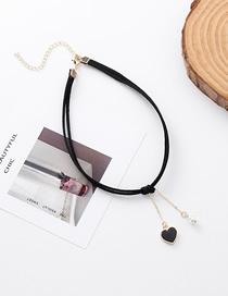 Fashion Black Pearl Love Velvet Necklace