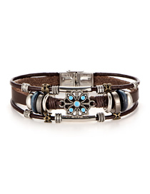 Fashion Silver Faux Leather Bracelet Floral Inlay Turquoise Bracelet