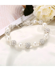 Fashion White Pearl Full Diamond Bracelet