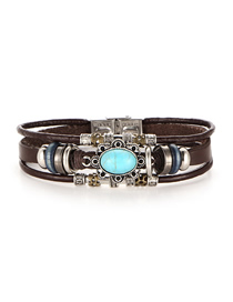 Fashion Silver Faux Leather Inlaid Oval Turquoise Bracelet