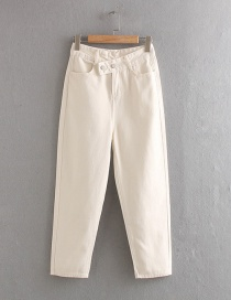 Fashion Creamy-white Double Buckle High Waist Jeans