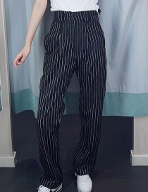 Fashion Black Striped Straight Pants