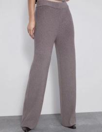 Fashion Gray Elastic Waist Wide Leg