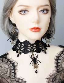 Fashion Black Spider Lace Necklace