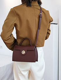 Fashion Brown Lock Buckle Billiard Shoulder Bag