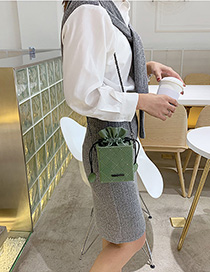 Fashion Matcha Green Scrub Embroidery Thread Chain Shoulder Bag