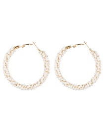 Fashion White Alloy Ring Glass Beads Beaded Earrings