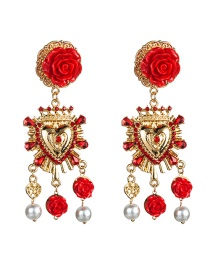 Fashion Red S925 Silver Needle Alloy Resin Flower-studded Imitation Pearl Earrings