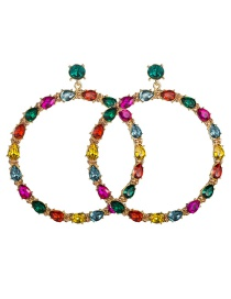 Fashion Color Large Circle With Diamond Earrings