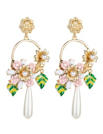 Fashion Gold Color Multilayer Alloy Drop Oil Leaf Resin Flower Imitation Pearl Earrings
