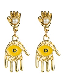 Fashion Yellow Multilayer Alloy Palm Drops Eyes With Pearl Earrings