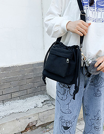 Black Draw A Pig Pendant Single Crossbody Bag