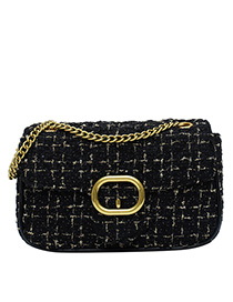 Black Large Chain Woven Crossbody Bag