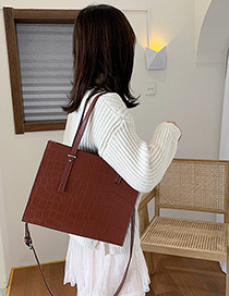 Brown Stone Pattern Crossbody Shoulder Bag