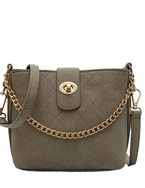 Khaki Chain Rhombic Shoulder Messenger Bag