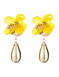 Fashion Yellow Multi-layer Resin Flower Drop-shaped Alloy Earrings
