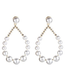 Fashion White S925 Silver Needle Drop-shaped Half-studded Imitation Pearl Earrings