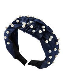 Fashion Blue Cloth Knotted Pearl Headband