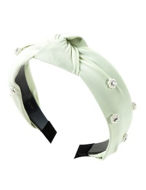 Fashion Green Cloth Knotted Pearl Acrylic Diamond Flower Headband