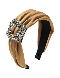 Fashion Brown Wide-brimmed Square Alloy Diamond Headband