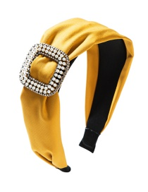 Fashion Yellow Fabric Square Alloy With Pearl And Diamond Headband