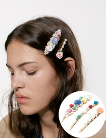 Fashion Color Resin Floral And Diamond Set With Pearl Hair Clips