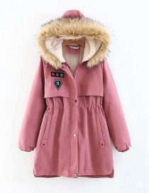 Fashion Dark Pink Long Thick Padded Coat In Hooded Fur Collar