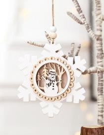 Fashion White Snowflake With Light Pendant Wooden Twine Christmas Tree Pendant