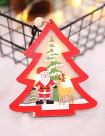 Fashion Red Wooden Hollow With Light Pendant Christmas Tree Openwork Wooden Christmas Tree Pendant