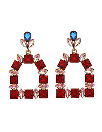 Fashion Red Alloy Studded Geometric Earrings