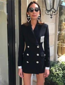 Fashion Black Cuff Rhinestone Suit