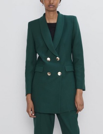 Fashion Dark Green Double-breasted Suit