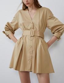 Fashion Khaki Belt Dress