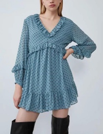 Fashion Blue Laminated Polka Dot Dress