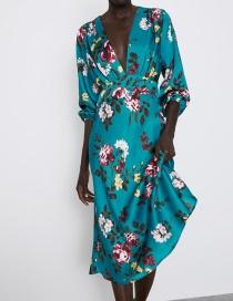 Fashion Blue Flower Print Dress