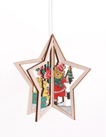 Fashion Three-dimensional Five-pointed Star Bear Pendant Wooden Hollow Christmas Pendant