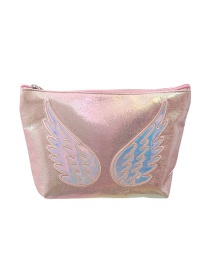 Fashion Pink Pu Laser Mermaid Embroidered Hexagon Storage Bag