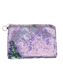 Fashion Violet Two-color Flip Sequin Pencil Case