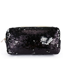 Fashion Black Hand Zipper Mermaid Sequin Pencil Case