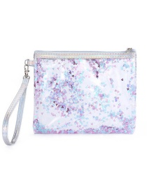 Fashion Violet Pvc Transparent Sequins Sand Glitter Powder Wash Bag