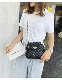 Fashion Black Chain Splicing Lock Messenger Bag