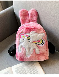 Fashion Pegasus Rose Fur Rabbit Ears Backpack