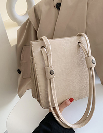 Fashion Beige Stone Pattern Shoulder Bag Multi-layer Bag