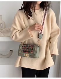 Fashion Matcha Green Woolen Messenger Shoulder Bag