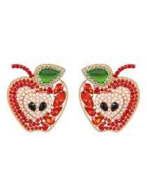 Fashion Red Fruit Apple And Diamond Earrings