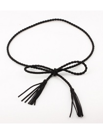Fashion Black Woven Korean Cashmere Waist Chain