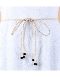Fashion Beige Korean Velvet Knotted Woven Bow Thin Belt