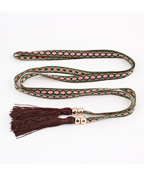 Fashion Coffee Tassel Fringed Thin Belt